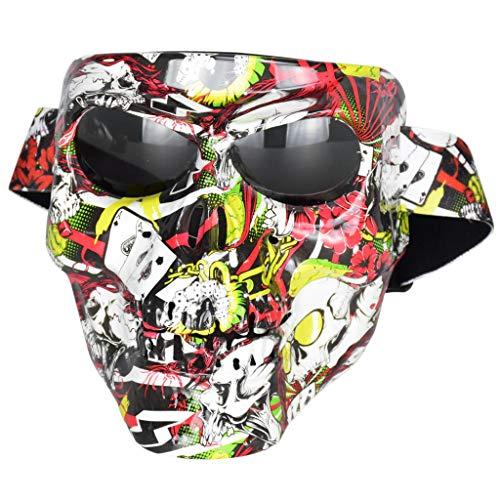IPOTCH Máscara de Calavera No Desmontable de Motocicleta/Halloween Gafas Vintage Gafas de Moto - Rojas + Negras