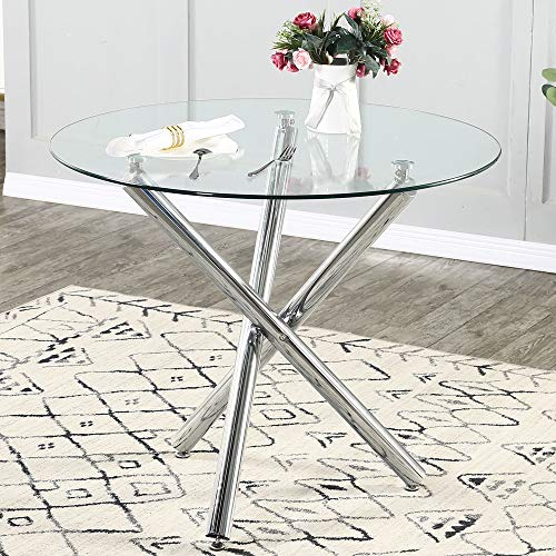 Glass Dining Table, Glass Round Dining Table Kitchen Table with Clear Tempered Glass Top, Modern Dining Table End Table Leisure Tea Coffee Table (Table)