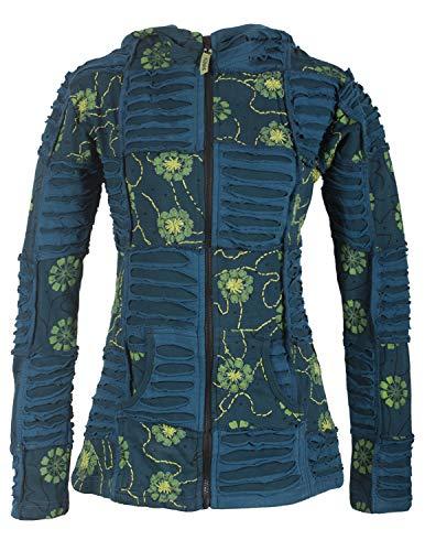 Vishes - Alternative Bekleidung - Bestickte Damen Blumen Patchworkjacke Hoodie Baumwolle Zipfelkapuze türkis 48