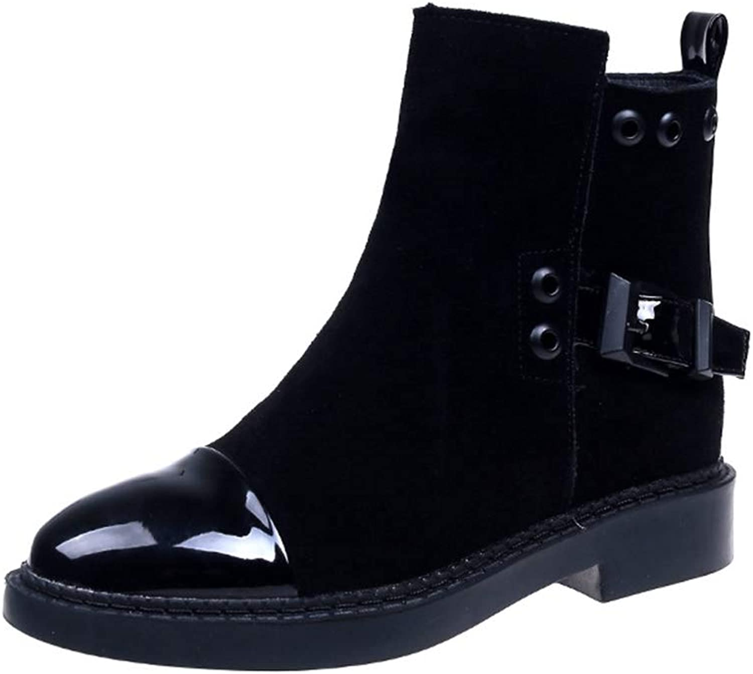 Women Ankle Boot Square Low Heel Pointed Toe Buckle Martin Style Fashion Female Winter shoes
