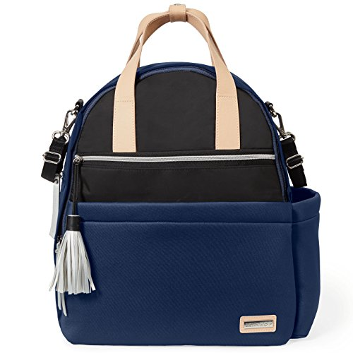 Skip Hop Diaper Bag Backpack with Matching Changing Pad, Nolita Neoprene, Navy/Black