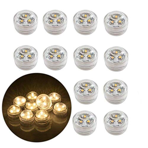 12x Luces de té sin llama subacuáticas LED, iluminación Velas decorativa sumergible a pilas para acuario/estanque/piscina/boda/fiesta (blanco cálido)