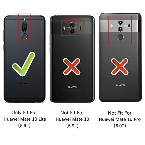HOOMIL für Huawei Mate 10 Lite Hülle, Handyhülle für Huawei Mate 10 Lite, Premium PU Leder Tasche Flip Schutzhülle für Huawei Mate 10 Lite Smartphone, Schwarz - 3