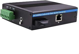 Sponsored Ad - Industrial Grade Fast Ethernet Media Converter SC Fiber 20km, DIN-Rail Mounting Hardened Switch,High Temper...