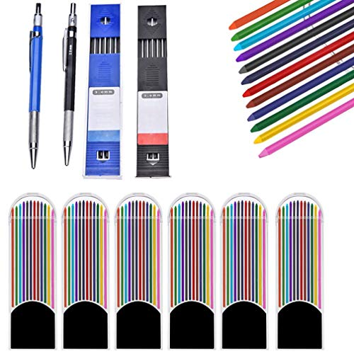 OBANGONG 2 Pcs 2.0 mm Mechanical Pencils with 6 Pcs Colored Lead Refills 2 Pcs Black Lead Refills for Writing Draft Drawing Crafting