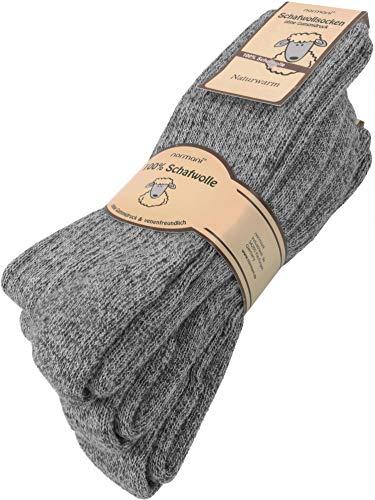 normani 3 Paar Wollsocken 100% Schafswolle Farbe Grau Größe 47/50