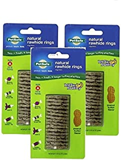 PetSafe Busy Buddy Refill Ring Dog Treats for select Busy Buddy Dog Toys, Natural Rawhide (Pack of 3)