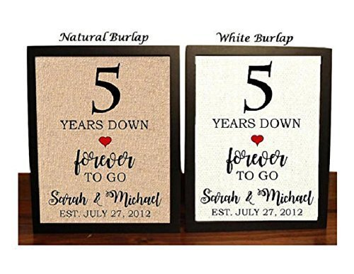Amazon Com 5th Anniversary Burlap Gift 5th Wedding Anniversary Gift Gift For 5th Anniversary 5 Years Down Forever To Go 5 Years Of Marriage Handmade