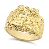 The Bling Factory Large 21mm 14k Yellow Gold Heavy Plated Chunky Nugget Textured Ring, Size 12