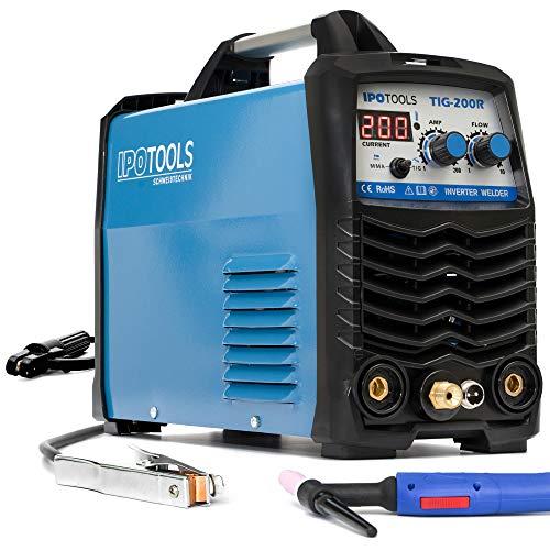 Dispositivo de soldadura IPOTOOLS TIG-200R WIG DC - TIG WIG, 200 amperios, completamente digital, con pantalla LCD digital, encendido HF, MMA E-Hand, IGBT