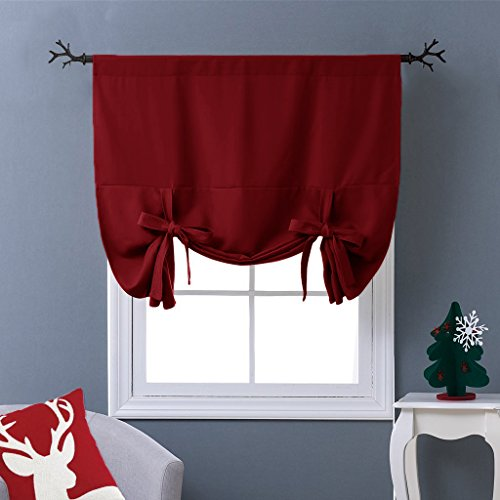NICETOWN Burgundy Tie-Up Shade Curtain - Window Treatment Balloon Valance Drape for Kitchen Window (Rod Pocket Panel, 46 inches W x 63 inches L)