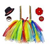 Amakando Entzückende Zirkus-Verkleidung Clown für Mädchen / Kostüm-Set Harlekin mit Rock,...