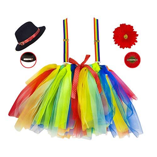 Amakando Entzückende Zirkus-Verkleidung Clown für Mädchen / Kostüm-Set Harlekin mit Rock, Hosenträger & Mini-Hut / Perfekt geeignet zu Kinder-Fasching & Kostümfest