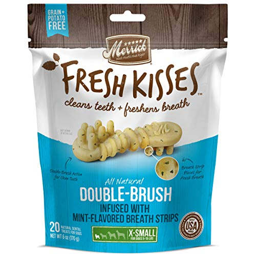 Merrick Fresh Kisses Double-Brush Dental Dog Treats With Mint Breath Strips For Extra Small Dogs - 6 oz Bag with 20 Brushes
