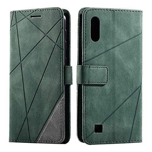 Cover per Galaxy A10 / Galaxy M10, SONWO Flip Caso in PU Pelle Case Cover Portafoglio Custodia per Samsung Galaxy A10 / Galaxy M10, [Kickstand] [Slot per Schede], Verde