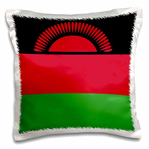 Kissenbezug, 3D-Rosen-Flagge von Malawi-Afrika, schwarz, rot, grün, dreifarbig gestreift, 40,6 x 40,6 cm