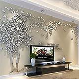 Albero Adesivo da Parete, Alberi e Uccelli 3D Adesivi Murali Arts Wall Sticker Decorativi per TV Par (XL-400 * 200cm, Argento Sinistra)