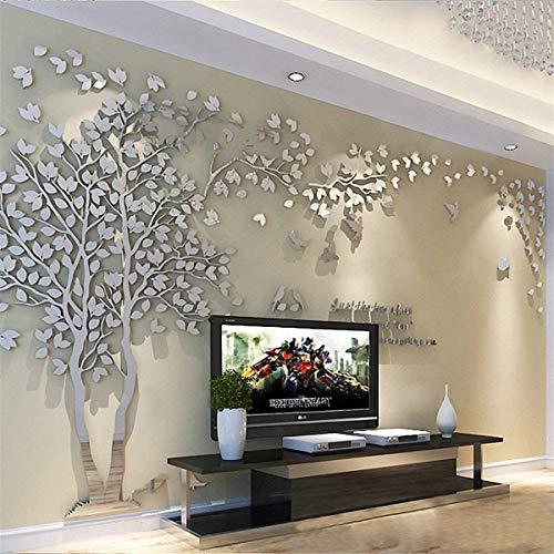 Albero Adesivo da Parete, Alberi e Uccelli 3D Adesivi Murali Arts Wall Sticker Decorativi per TV Par (M-250 * 130cm, Argento Sinistra)