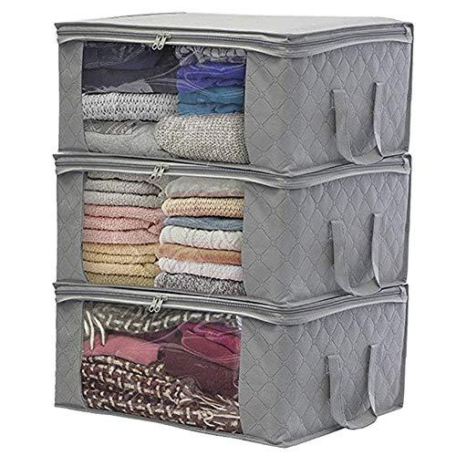 Zapatero de almacenamiento no tejido plegable caja de almacenamiento para colcha, bolsa ordenada, maleta de almacenamiento para el hogar, organizador de ropa portátil (color gris oscuro)