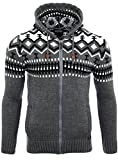 Reslad Herren Grobstrick Norweger Pullover Winter Strickjacke Kapuzenpullover RS-3104 (S, Anthrazit)