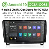 hizpo 9 Inch Android 10 Car Stereo Radio Video Player for Toyota Tundra 2007-2013 Sequoia 2008-2014 with GPS Navigation Can-Bus Mirrorlink Bluetooth OBD2 Multi Touch Screen