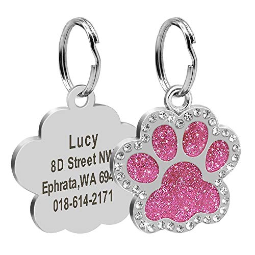 Didog Glitter Rhinestone Paw Print Custom Pet ID Tags,Crystal Stainless Steel Personalized Engrave ID Tags Fit Small Medium Large Dogs and Cats,Pink