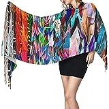 Origami Multicolor Papercraft Cranes Imprimir Bufanda de cachemira para mujer Casual Bufanda cálida Abrigo Chal grande