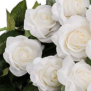 artificial single rose 10 pcs long stem silk rose soft petals fake flowers bouquet wedding for flower arrangement diy party home decor (white) silk flower arrangements