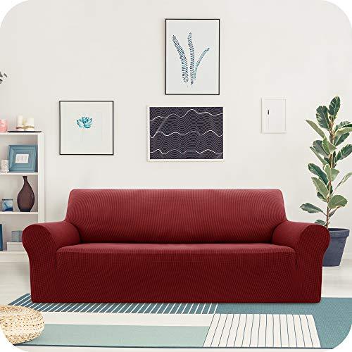 Amazon Brand – Umi Jacquard Sofabezug Stretch Sofaüberzug Couchbezug Sofaüberwurf Wohnzimmer 3-Sitzer Weinrot