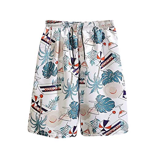 Lowest Prices! Wadonerful-men Summer Beach Shorts Print Pocket Shorts Elastic Waist Casual Loose Sho...