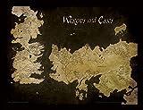 Game of Thrones - Stampa con Cornice, 30x 40cm, Mappa Antica di Essos e Westeros...