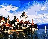 Estilo nórdico Venecia Water Shore Diy Digital pintura al óleo lienzo pintura regalo pintado a mano imagen decoración del hogar