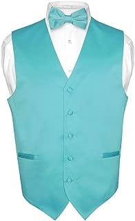 Men's Dress Vest & Bowtie Solid Turquoise Aqua Blue Color Bow Tie Set