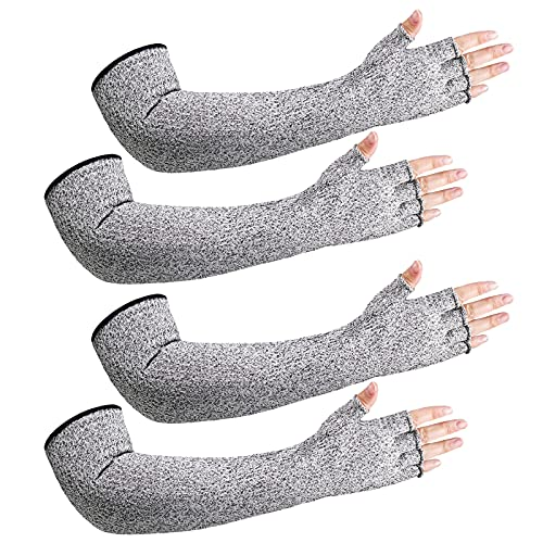 2 Pairs Anti-Cut Protective Sleeves Arm Sleeves Safety Cut Resistant Gloves (Gray)