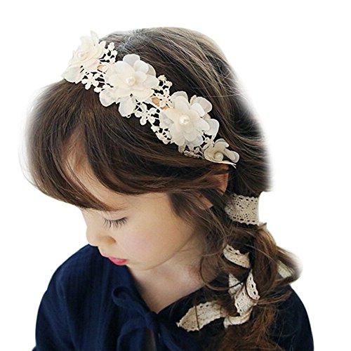 TININNA Fait à la Main Bandeau de Cheveux en Tissu Dentelle Serre Tête Accessoire Fleur Collier Elégant Headband pour Enfant Fille Fillette Blanc