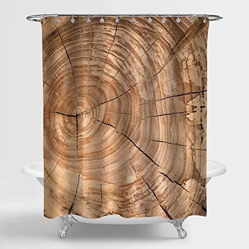 SPXUBZ Hermosa cortina de ducha con textura de madera, tronco de roble con anillos anuales, decoración de Bahtoom, marrón, 66 x 72 pulgadas