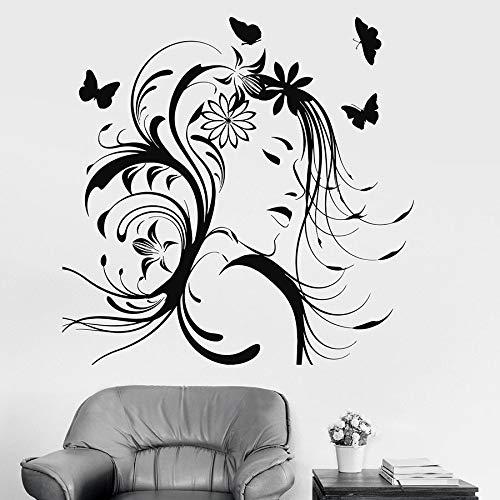 Tianpengyuanshuai Mooie vrouwen muursticker muursticker salonhaar ontwerp vlinder bloem vinyl muursticker meisjesslaapkamer uitgangdecoratie