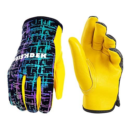 Kids Genuine Leather Work Gloves, Kids Gardening Work Gloves, Safety Glove, Reflective, Breathable Design, Perfect for Children Gardening, Yard Work, Outdoor (Large, Black, 6-7 Years Old)
