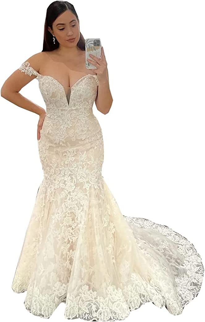 Women's Lace Corset Mermaid Bridal Ball Gowns Train Off The Shoulder Wedding Dresses for Bride 2021