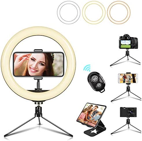 10 LED Selfie Ring Light with Mini Tripod Stand Cell Phone Holder 3 Lighting Modes 10 Dimmable product image
