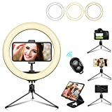 10' LED Selfie Ring Light with Mini Tripod Stand & Cell Phone Holder 3 Lighting Modes 10 Dimmable Brightness for Live Streaming YouTube Video Photography Makeup Circle Light for iPhone Android Camera