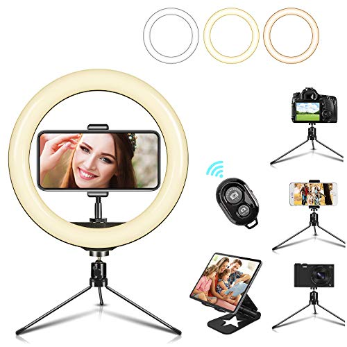 "10"" LED Selfie Ring Light with Mini Tripod Stand & Cell Phone Holder 3 Lighting Modes 10 Dimmable Brightness for Live Streaming YouTube Video Photography Makeup Circle Light for iPhone Android Camera"