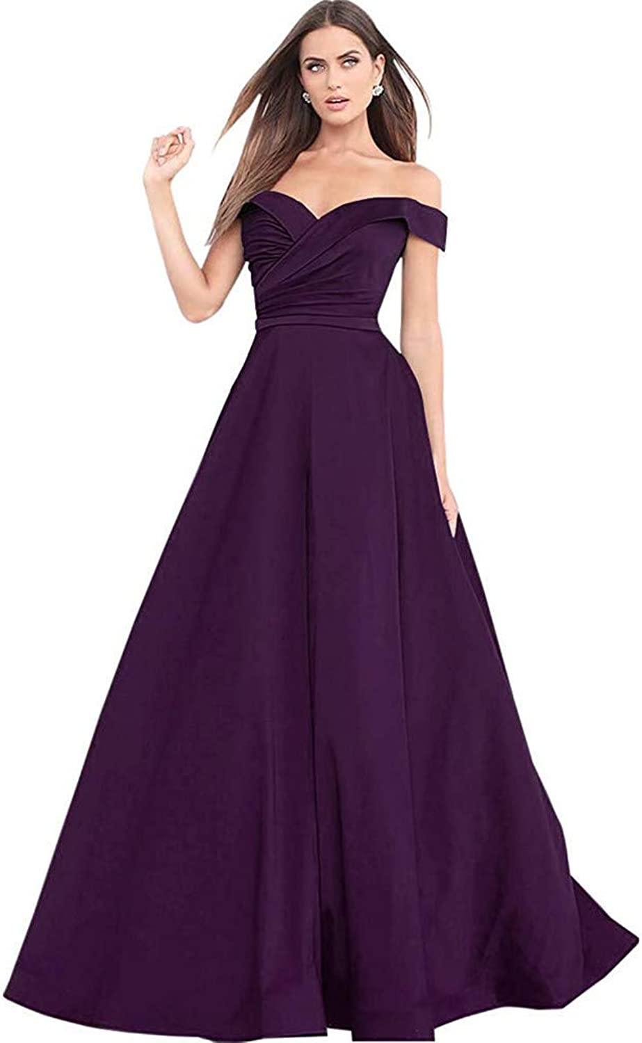 Liangjinsmkj Prom Dresses 2019 Off The Shoulder Satin Sweetheart Aline Formal Evening Gown with Pockets