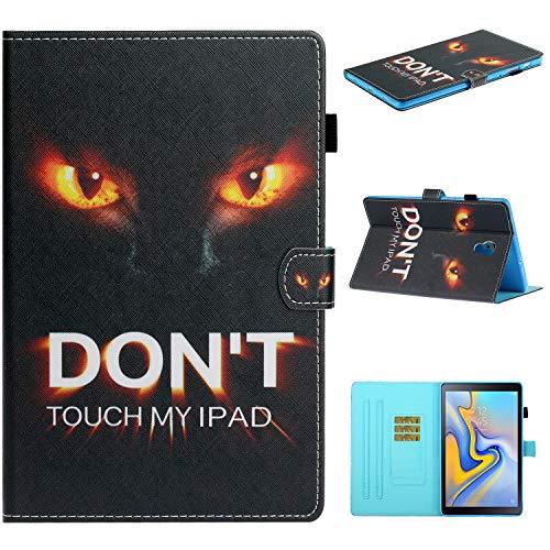 Lspcase Galaxy Tab A 10.5 Schutzhülle Leder Hülle Flip Wallet Hülle Cover mit Auto Schlaf/Wach Funktion & Kunstleder Etui für Samsung Galaxy Tab A 10.5 Zoll SM-T590 SM-T595 2018 Don't Touch My iPad