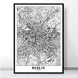 JCYMC Leinwand Bilder Poster Drucke Malerei Karte Stadtrundfahrt Berlin London Los Angeles York Tokyoart Wandbilder Club Bar Dekor Nx21Yt 40X60Cm Rahmenlos