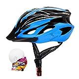 ioutdoor Casco de bicicleta de 56 a 64 cm con visera [Auriculares deportivos, 18 ventilaciones] Para Unisex Adultos [Azul negro - Grande]
