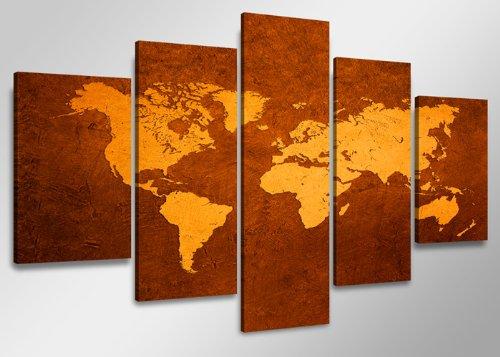 160 x 80 cm quadri moderni su tela mappa mondo 5508-VKF - stampa / disegno / immagine pronto da appendere