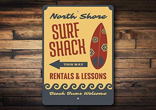 Maxwell546 Surf Shack Schild, Shack Surf Dekoration, Surfboard Liebhaber, Surfboard Shops, Surfen Coastal Dekoration, Strand, Aluminium Geschenk, hochwertiges Metall Shack Schild, Warnschild