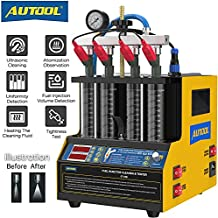 AUTOOL Ultrasonic Fuel Injector Cleaner Tester with 1300mL Large Capacity, Fuel Injection System Testing Cleaning Machine with 4-Cylinder for Automotive Car Motorcycle Spark Plug CT160 110V