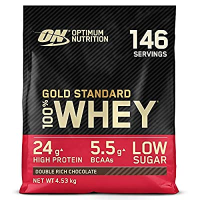 Optimum Nutrition Gold Standard Whey Protein Powder Muscle Building Supplements with Glutamine and Amino Acids, Double Rich Chocolate, 149 Servings, 4.54 kg